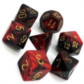 Black & Red Gemini Polyhedral 7 Dice Set